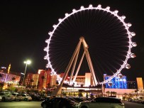 A view of the High Roller from the parking lot on the backside of the Promenade