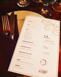The evening's extensive menu.
