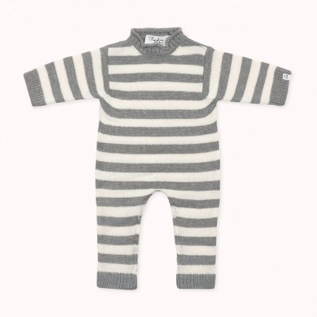 Fagiolino Cashmere Amorino Onesie Stripes Zeno Grey