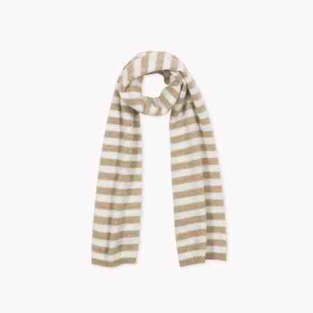 Fagiolino Cashmere Scarf Stripes Hay Beige