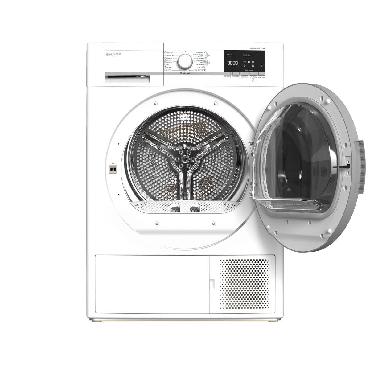 Sharp mašina za sušenje veša sa toplotnom pumpom 8 kg - KD-GHB8S7GW2 otvorena vrata