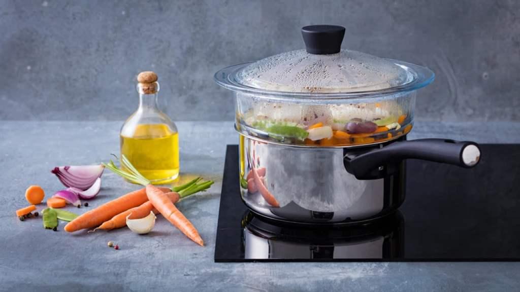 Vatrostalna posuda za kuvanje na pari  24 X 9cm – P05N primena