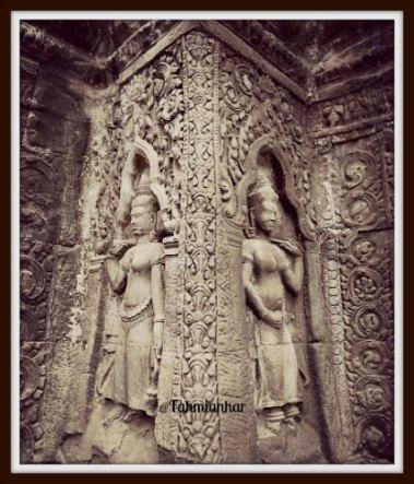 Relief Apsara di Ta Phrom Siem Reap Cambodia
