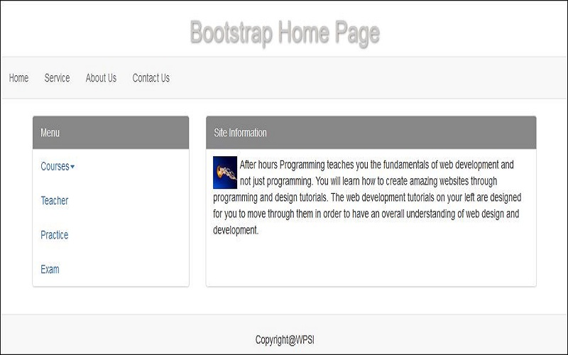 Simple Webpage Design Using Bootstrap