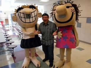 Comic artist Mason Mastroianni with Rex and Roxy