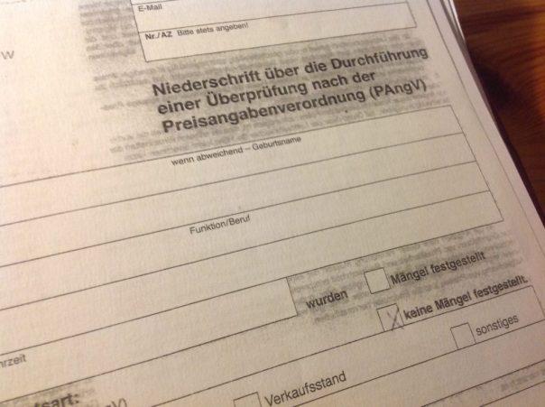 Protokoll zur Überprüfung nach PAngV