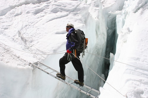 A Sherpa guide at the Khumbu Icefall.