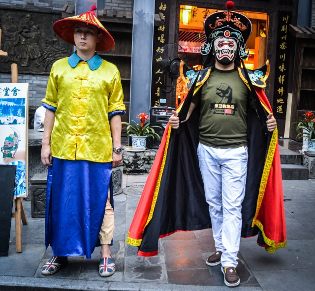 Costume guys on Wide-Narrow Street.