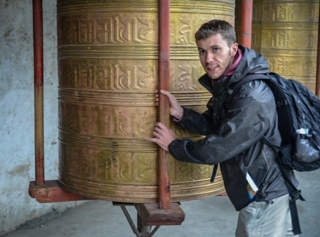 Tony and a prayer wheel.