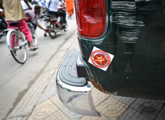 Anti Vietnam sticker on a car.