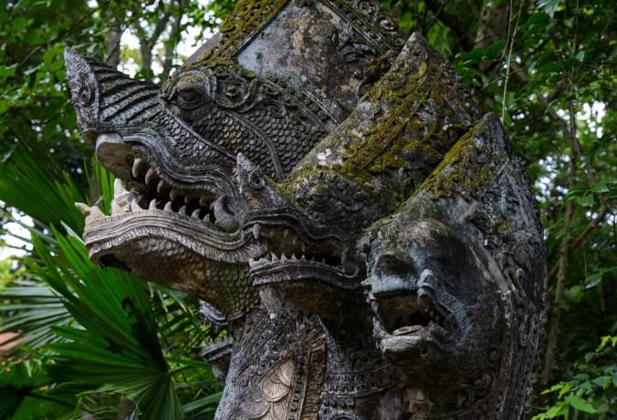 Naga statue at Wat Umong.