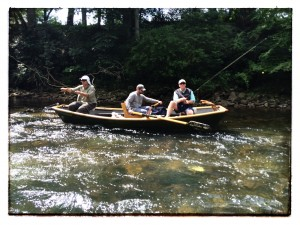 (Tom, Guide Clay and Lee fishing as we float past their fishing spot)