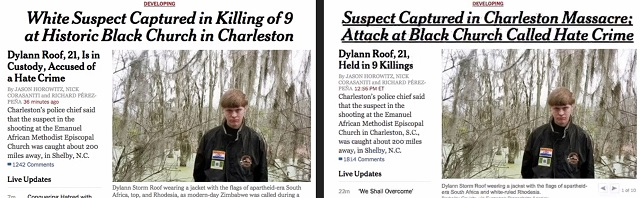 New York Times Charleston headlines: before and after