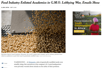 NYT: Food Industry Enlisted Academics in G.M.O. Lobbying War, Emails Show