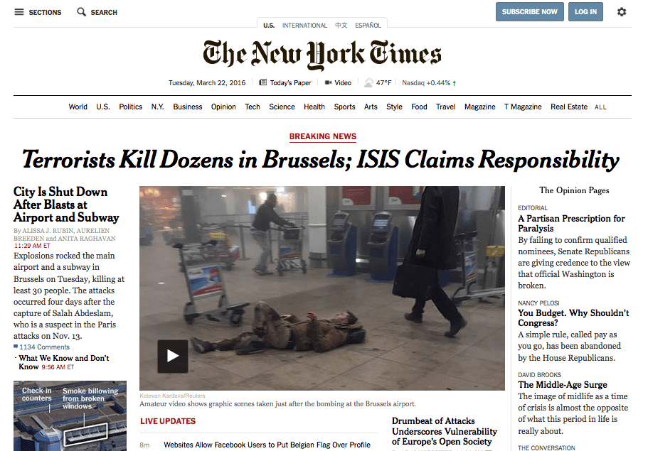 New York Times online edition (3/22/16)
