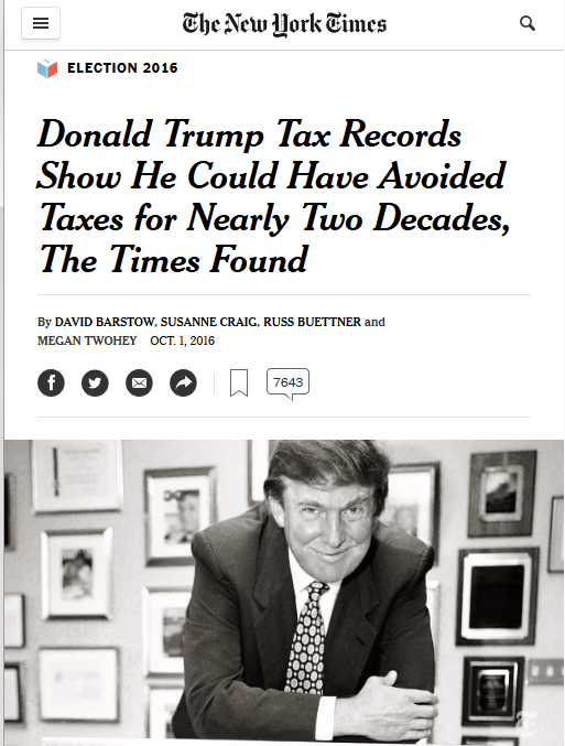 NYT: Donald Trump Tax Records Show He Could Have Avoided Taxes for Nearly Two Decades, The Times Found