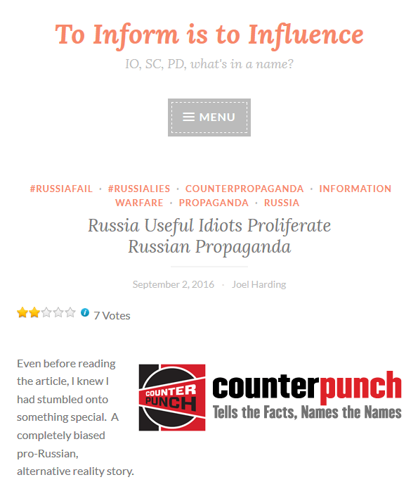 To Inform Is to Influence: Russia Useful Idiots Proliferate Russian Propaganda
