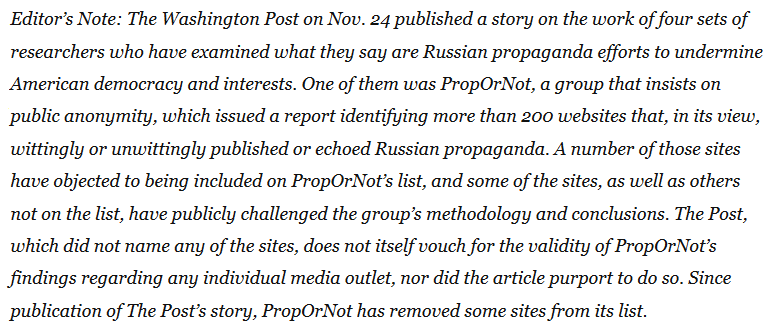 Editor's note on the Washington Post's PropOrNot story