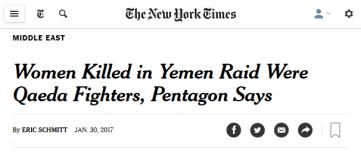 New York Times: Women Killed in Yemen Raid Were Qaeda Fighters, Pentagon Says