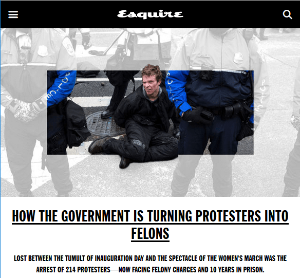 Esquire: How the Government Is Turning Protesters Into Felons