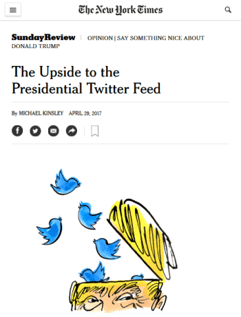 NYT: The Upside to the Presidential Twitter Feed