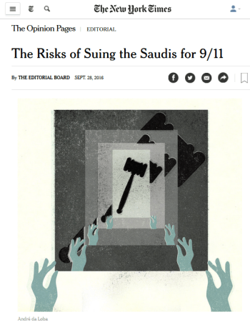 New York Times: The Risk of Suing Saudis for 9/11