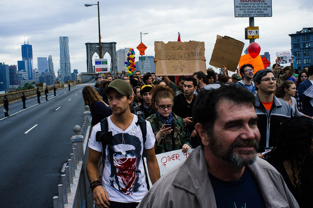 Brooklyn Bridge march (cc photo: Mat McDermott)