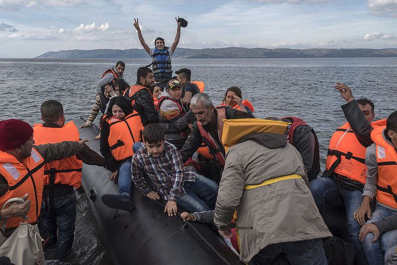 Syrian refugees arriving on Lesbos (cc photo: Ggia)