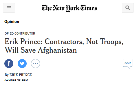 NYT: Erik Prince: Contractors, Not Troops, Will Save Afghanistan