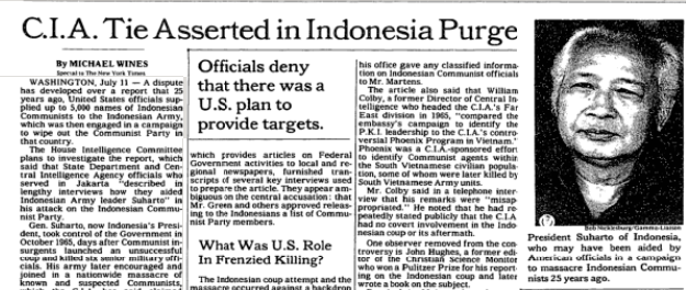 NYT: C.I.A. Tie Asserted in Indonesia Purge