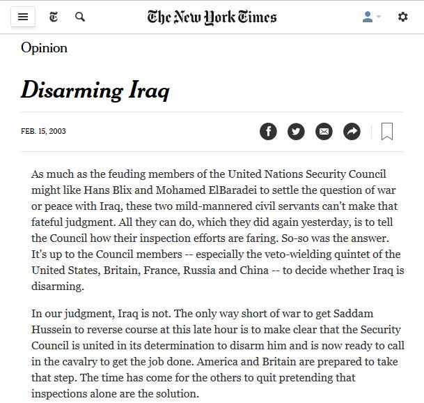 New York Times: Disarming Iraq