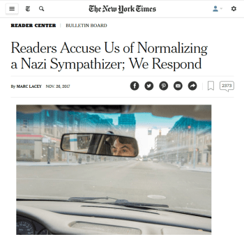 NYT: Readers Accuse Us of Normalizing a Nazi Sympathizer; We Respond