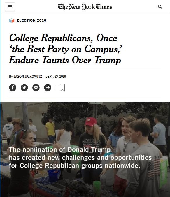 NYT: College Republicans, Once 'the Best Party on Campus,' Endure Taunts Over Trump