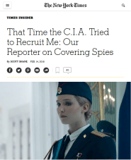 NYT: That Time the C.I.A. Tried to Recruit Me