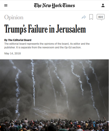 NYT: Trump's Failure in Jerusalem