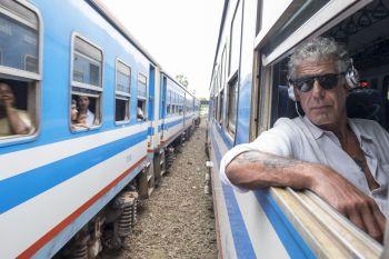 Anthony Bourdain on a train in Sri Lanka