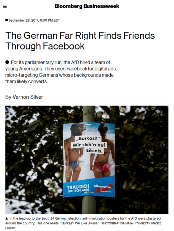 Businessweek: The German Far Right Finds Friends Through Facebook