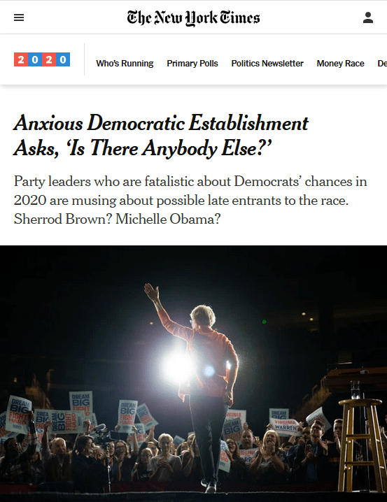 NYT: Anxious Democratic Establishment Asks, 'Is There Anybody Else?'
