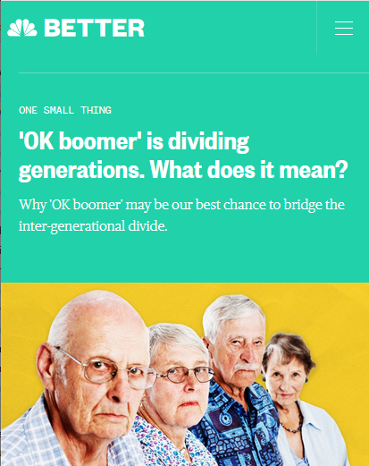 NBC: OK Boomer Is Dividing Generations. What Does It Mean?