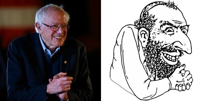 HuffPost depiction of Sanders compared to antisemitic stereotype