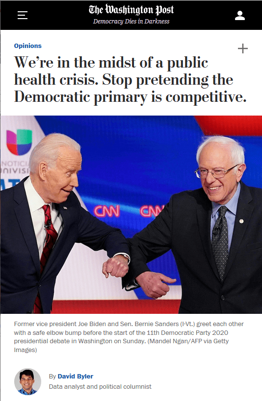 WaPo: We're in the midst of a public health crisis. Stop pretending the Democratic primary is competitive.