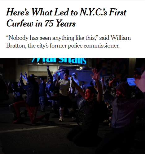 NYT: Here's What Led to NYC's First Curfew in 75 Years