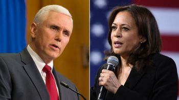 CNN images of Michael Pence and Kamala Harris