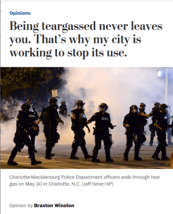 WaPo: Being teargassed never leaves you. That's why my city is working to stop its use.