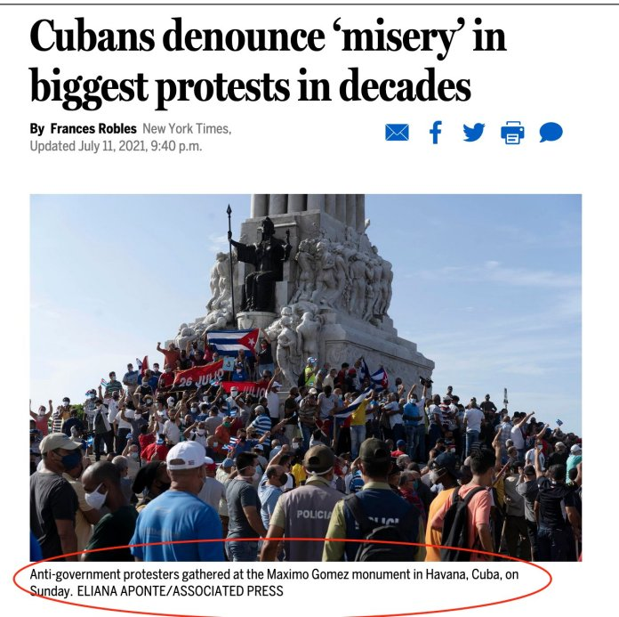 Boston Globe: Cubans Denounce 'Misery' in Biggest Protests in Decades