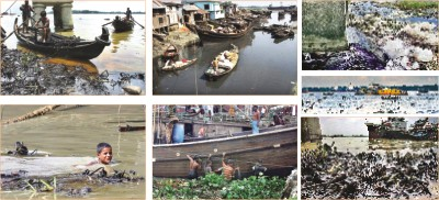 Fig.: The varied colours of Karnaphuli river, a stark reminder that toxic waste is eating it away, slowly diminishing its grandeur and ability to sustain aquatic life. Photo: Anurup Kanti Das