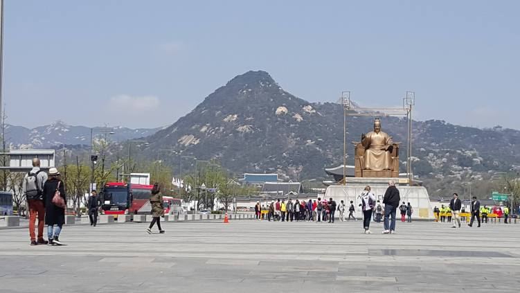Mountain at the backdrop of Gyeongbokgung, South Korea