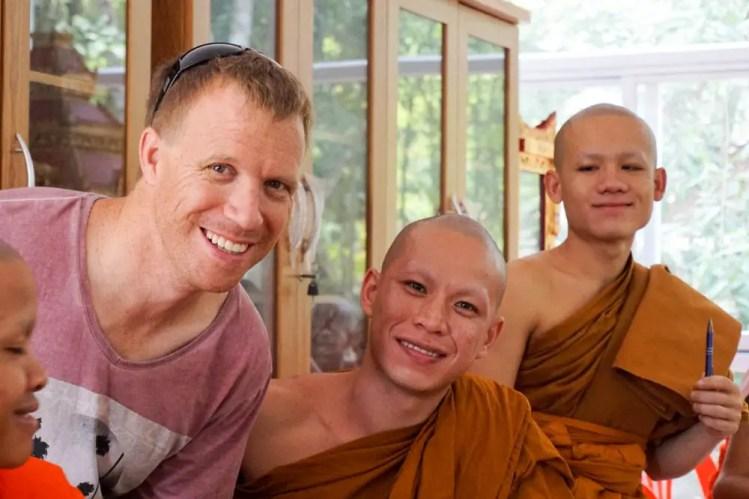 Teaching monks in Laos