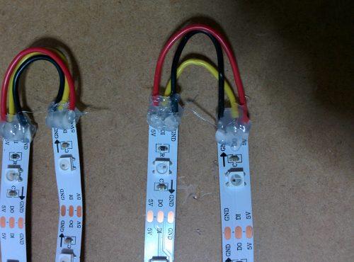 soudure + colle chaude LEDs WS2812
