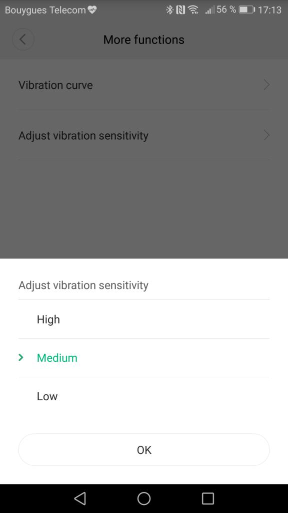 Sensibility xiaomi vibration